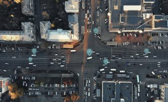 Aerial City Intersection with Cars scaled